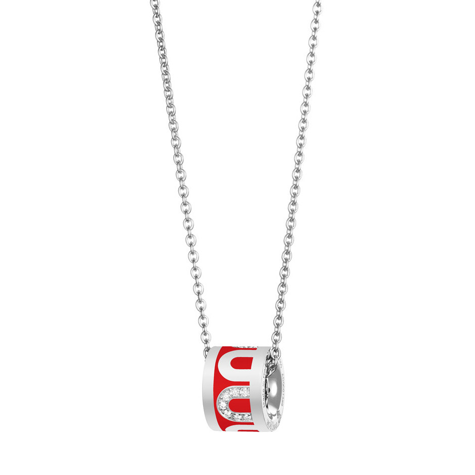 "18k White Gold, Diamond & Fraise Lacquer ""L'Arc"" Bead Pendant"