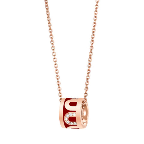 "18k Rose Gold, Diamond & Bordeaux Lacquer ""L'Arc"" Bead Pendant"