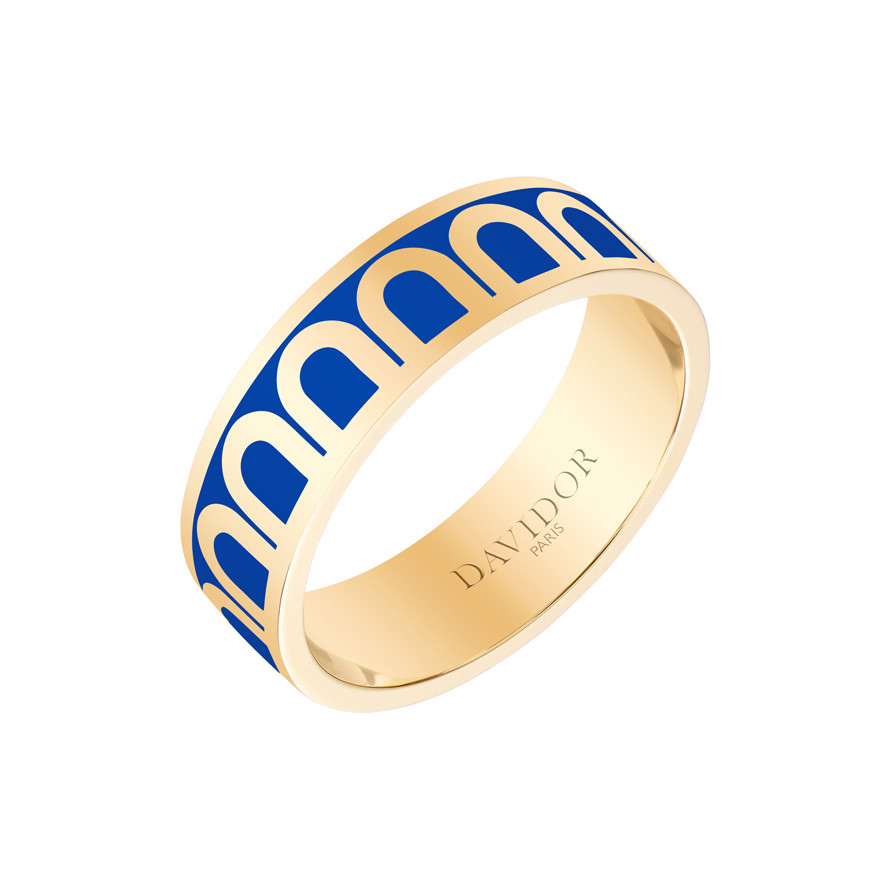 "18k Yellow Gold & Riviera Lacquer ""L'Arc"" Medium Band"