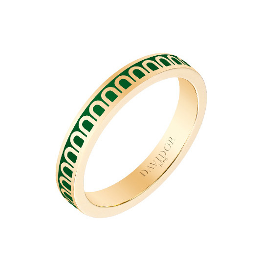 "Small 18k Yellow Gold & Green Lacquer ""L'Arc"" Band Ring"