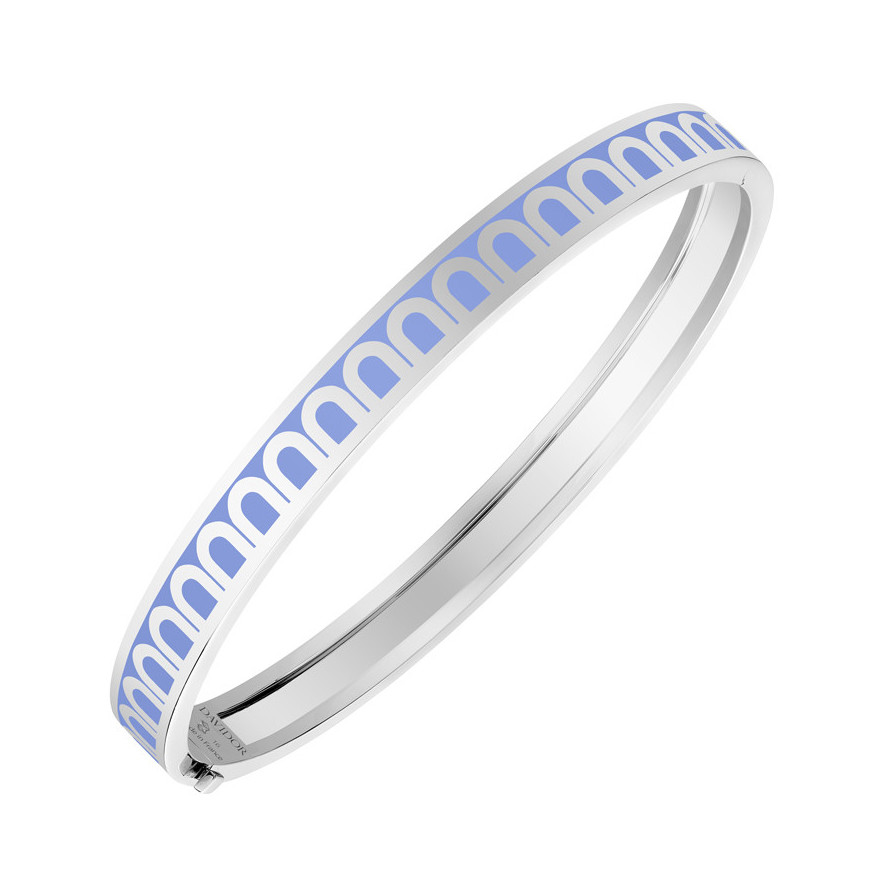 "18k White Gold & Hortensia Lacquer ""L'Arc"" Thin Bangle"