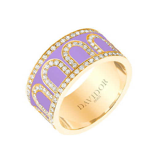 "Large 18k Yellow Gold, Diamond & Lavender Lacquer ""L'Arc"" Band"
