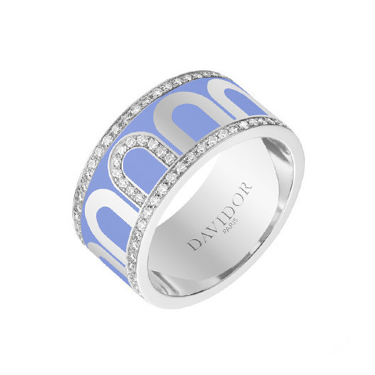 "Large 18k White Gold, Diamond & Light Blue Lacquer ""L'Arc"" Band"