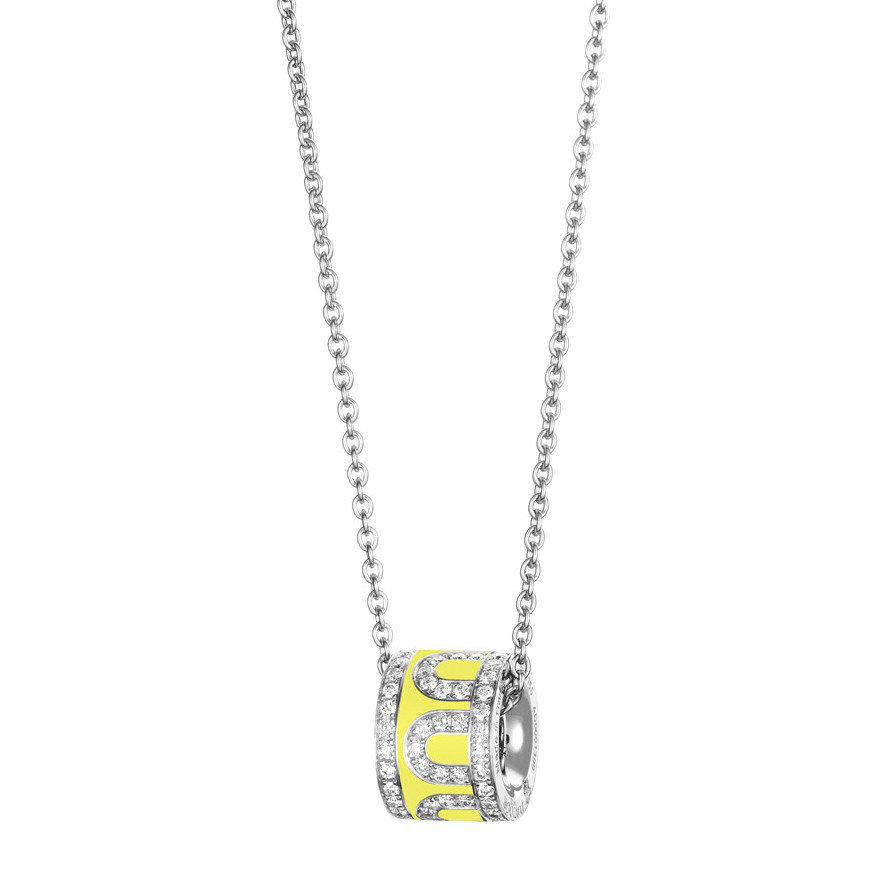 "18k White Gold, Diamond & Limoncello Lacquer ""L'Arc"" Bead Pendant"