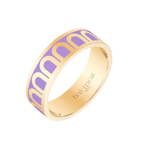 "Medium 18k Yellow Gold & Lavender Lacquer ""L'Arc"" Band Ring"