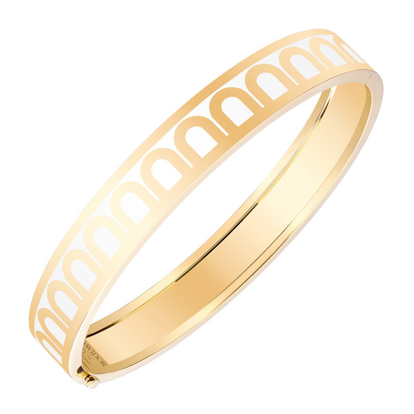 "18k Yellow Gold & Neige White Lacquer ""L'Arc"" Medium Bangle"