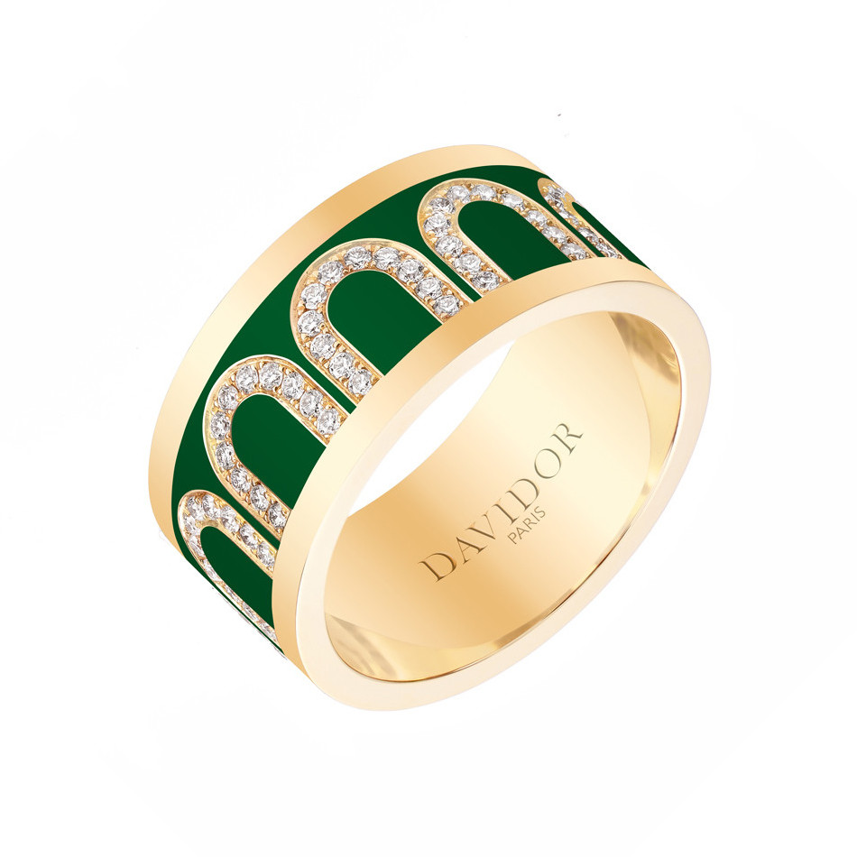"18k Yellow Gold, Diamond & Palais Green Lacquer ""L'Arc"" Band"