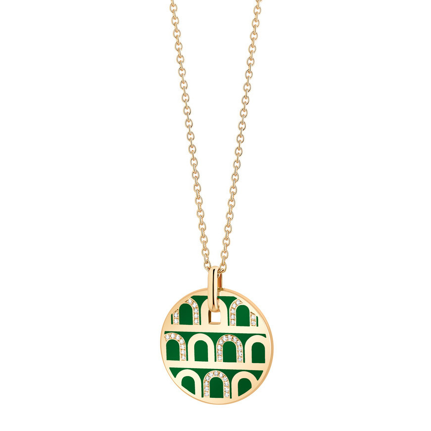 "18k Yellow Gold, Diamond & Palais Royal Lacquer ""L'Arc"" Pendant"