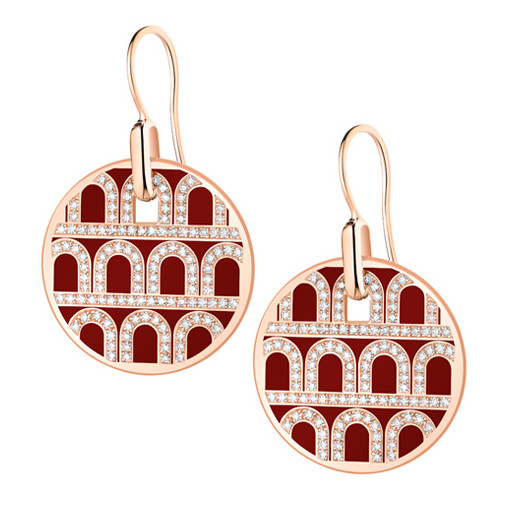 "18k Rose Gold, Diamond & Bordeaux Lacquer ""L'Arc"" Earrings"