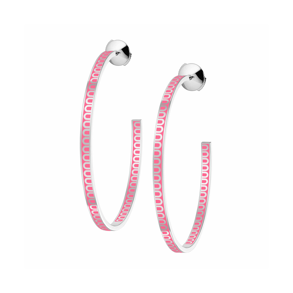 "18k White Gold & May Rose Lacquer ""L'Arc"" Hoops"