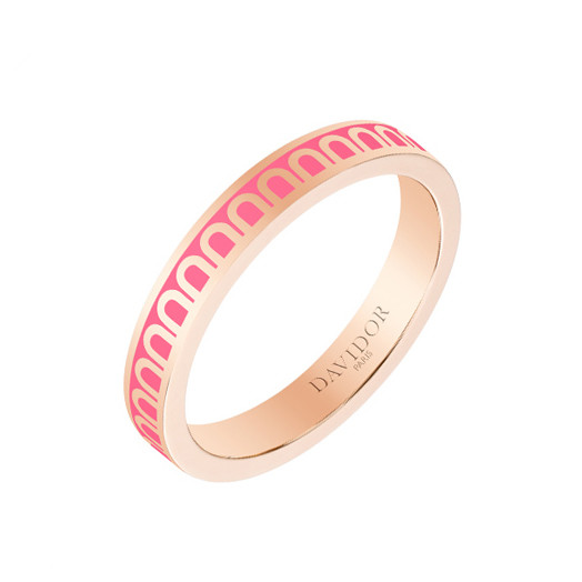 "18k Rose Gold & Flamant Pink Lacquer ""L'Arc"" Thin Band Ring"