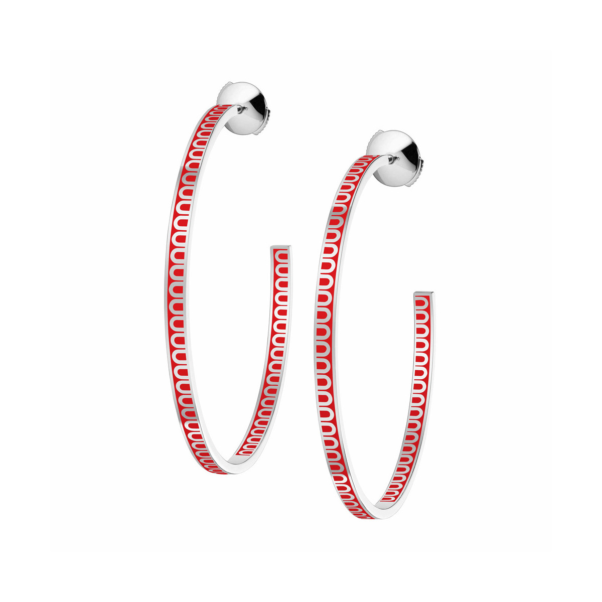 "18k White Gold & Fraise Lacquer Large ""L'Arc"" Hoops"