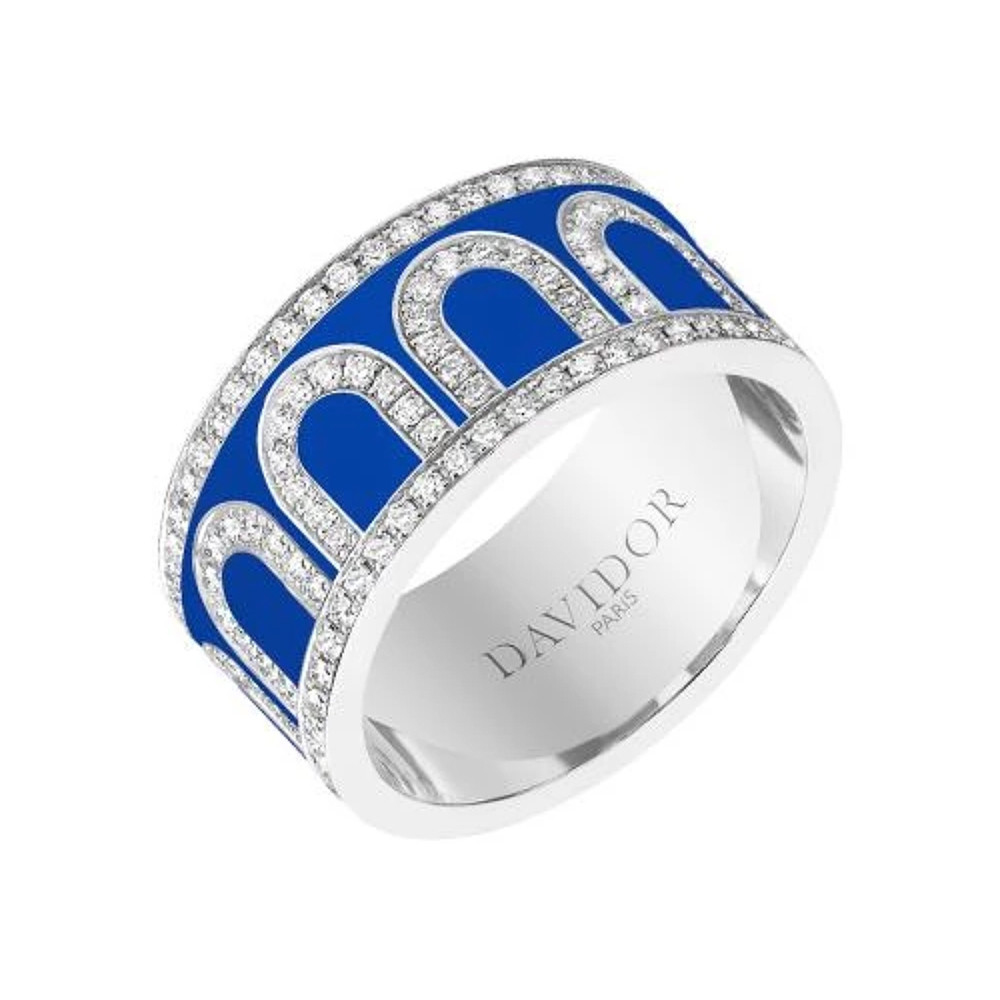 "Large 18k White Gold, Diamond & Riviera Blue Lacquer ""L'Arc"" Band"
