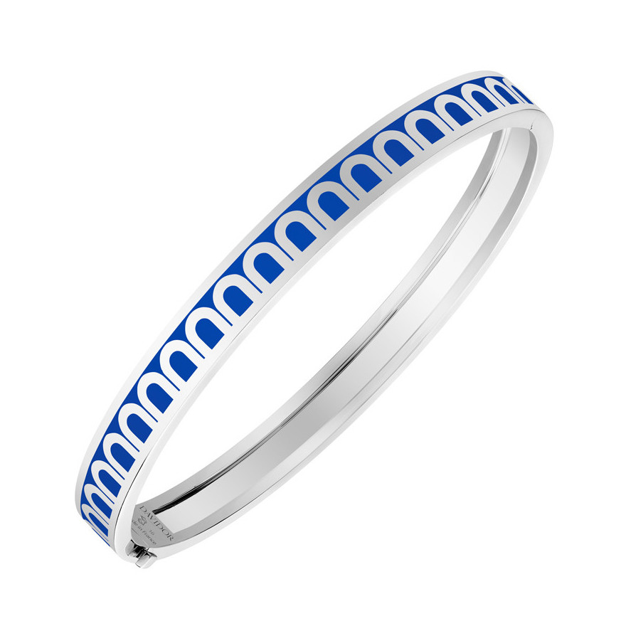 "18k White Gold & Riviera Lacquer ""L'Arc"" Thin Bangle"