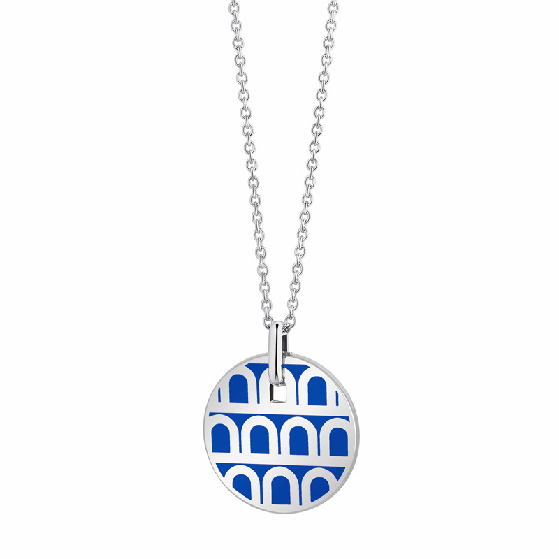 "18k White Gold & Riviera Lacquer ""L'Arc"" Small Pendant"