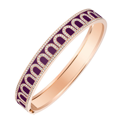 "Medium 18k Rose Gold, Diamond & Aubergine Lacquer ""L'Arc"" Bangle"