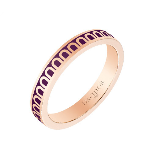 "Small 18k Rose Gold & Aubergine Purple Lacquer ""L'Arc"" Band Ring"