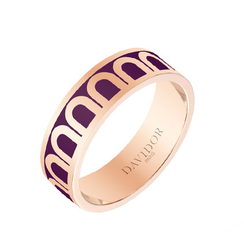 "Medium 18k Rose Gold & Aubergine Purple Lacquer ""L'Arc"" Band Ring"