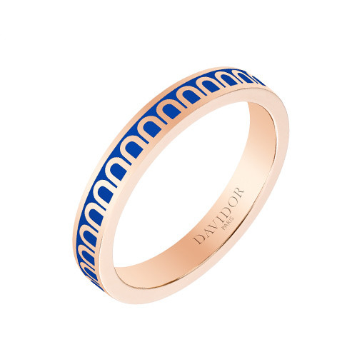 "Small 18k Rose Gold & Riviera Blue Lacquer ""L'Arc"" Band Ring"