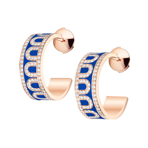 "18k Rose Gold, Diamond & Riviera Blue Lacquer ""L'Arc"" Hoops"