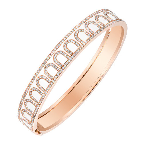 "18k Rose Gold, Diamond & White Lacquer ""L'Arc"" Bangle"