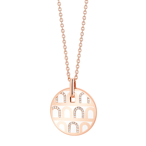 "Large 18k Rose Gold, Diamond & White Lacquer ""L'Arc"" Pendant"