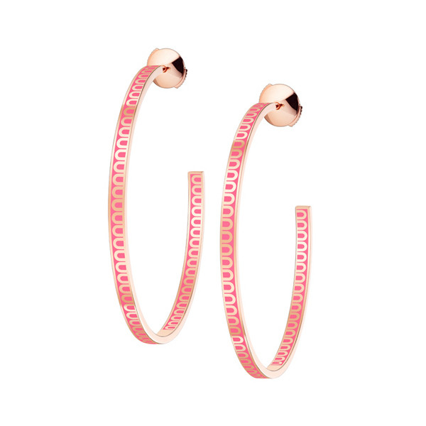 "Large 18k Rose Gold & Pink Lacquer ""L'Arc"" Hoops"