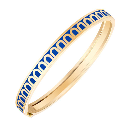 "18k Yellow Gold & Blue Lacquer ""L'Arc"" Bangle"