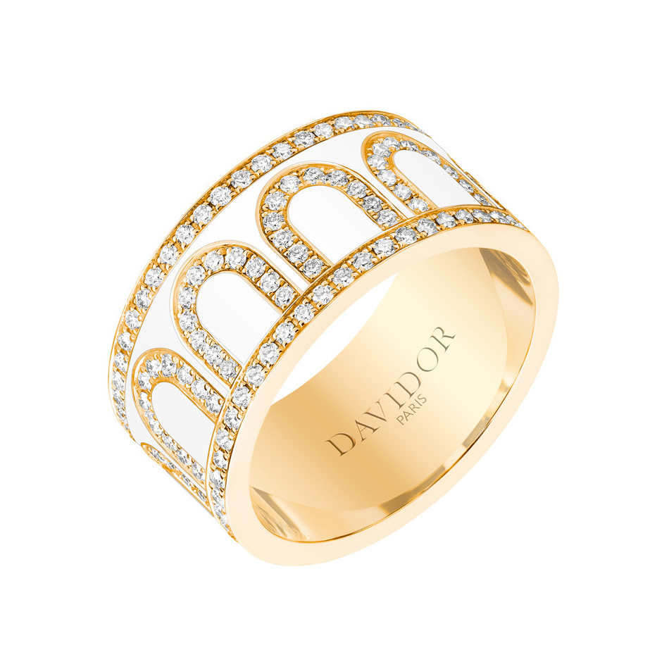 "18k Yellow Gold, Diamond & Neige Lacquer ""L'Arc"" Band"
