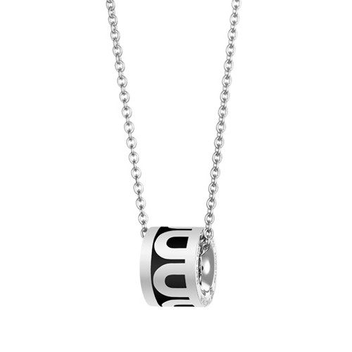 "18k White Gold & Black Lacquer ""L'Arc"" Bead Pendant"