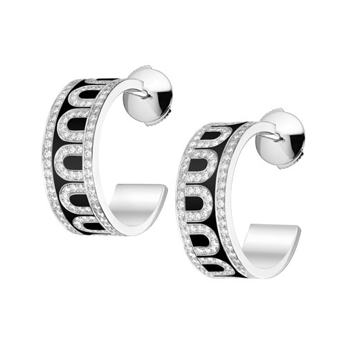 "18k White Gold, Diamond & Black Lacquer ""L'Arc"" Hoops"