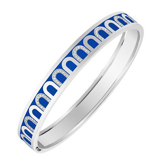 "18k White Gold, Diamond & Riviera Blue Lacquer ""L'Arc"" Bangle"