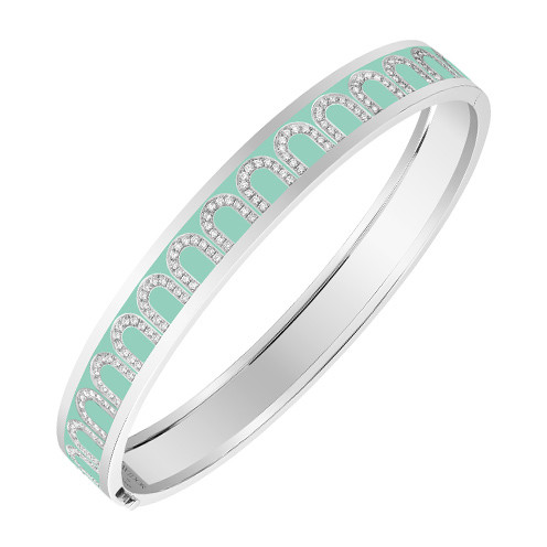 "18k White Gold, Diamond & Mint Green Lacquer ""L'Arc"" Bangle"
