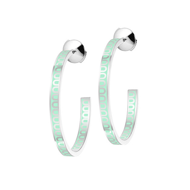 "18k White Gold & Mint Green Lacquer ""L'Arc"" Medium Hoops"