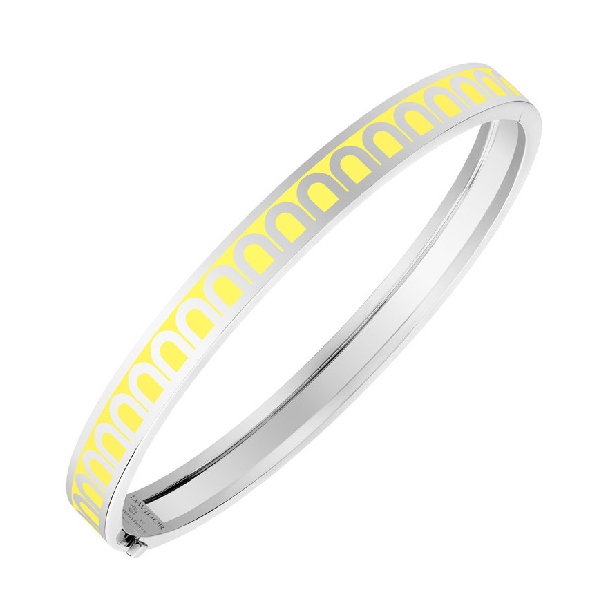 "18k White Gold & Limoncello Lacquer ""L'Arc"" Thin Bangle"