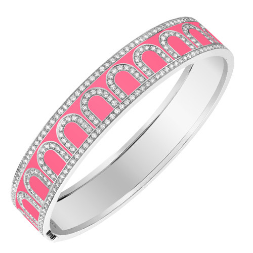 "18k White Gold, Diamond & May Rose Pink Lacquer ""L'Arc"" Bangle"