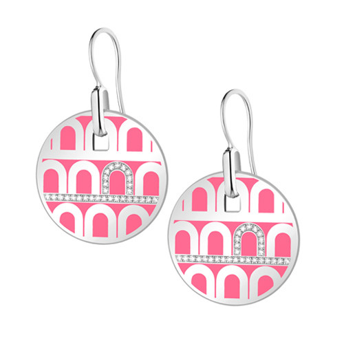 "18k White Gold, Pink Lacquer & Diamond ""L'Arc"" Pendant Earrings"