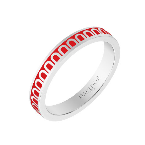 "Small 18k White Gold & Fraise Red Lacquer ""L'Arc"" Band Ring"