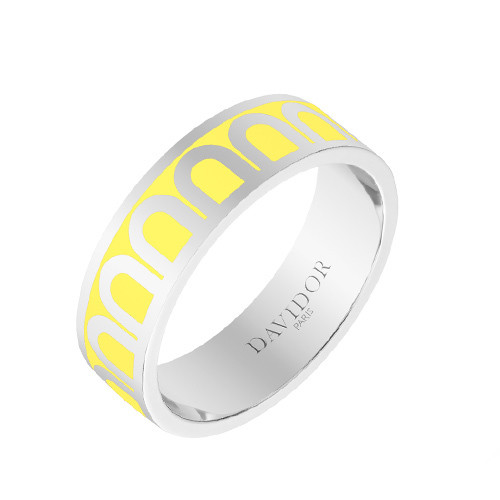 "18k White Gold & Limoncello Yellow Lacquer ""L'Arc"" Medium Band Ring"