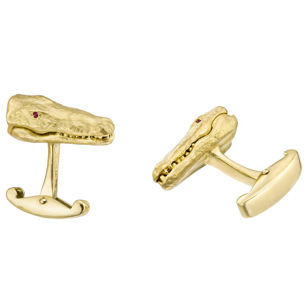 18k Gold Alligator Cufflinks with Ruby Eyes