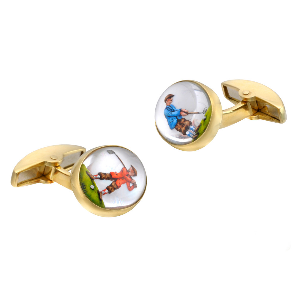 18k Gold Golfer Crystal Cufflinks