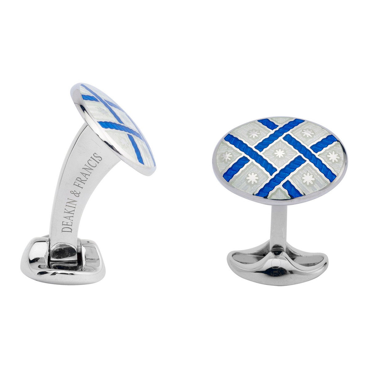 Silver White & Royal Blue Enamel Patterned Cufflinks