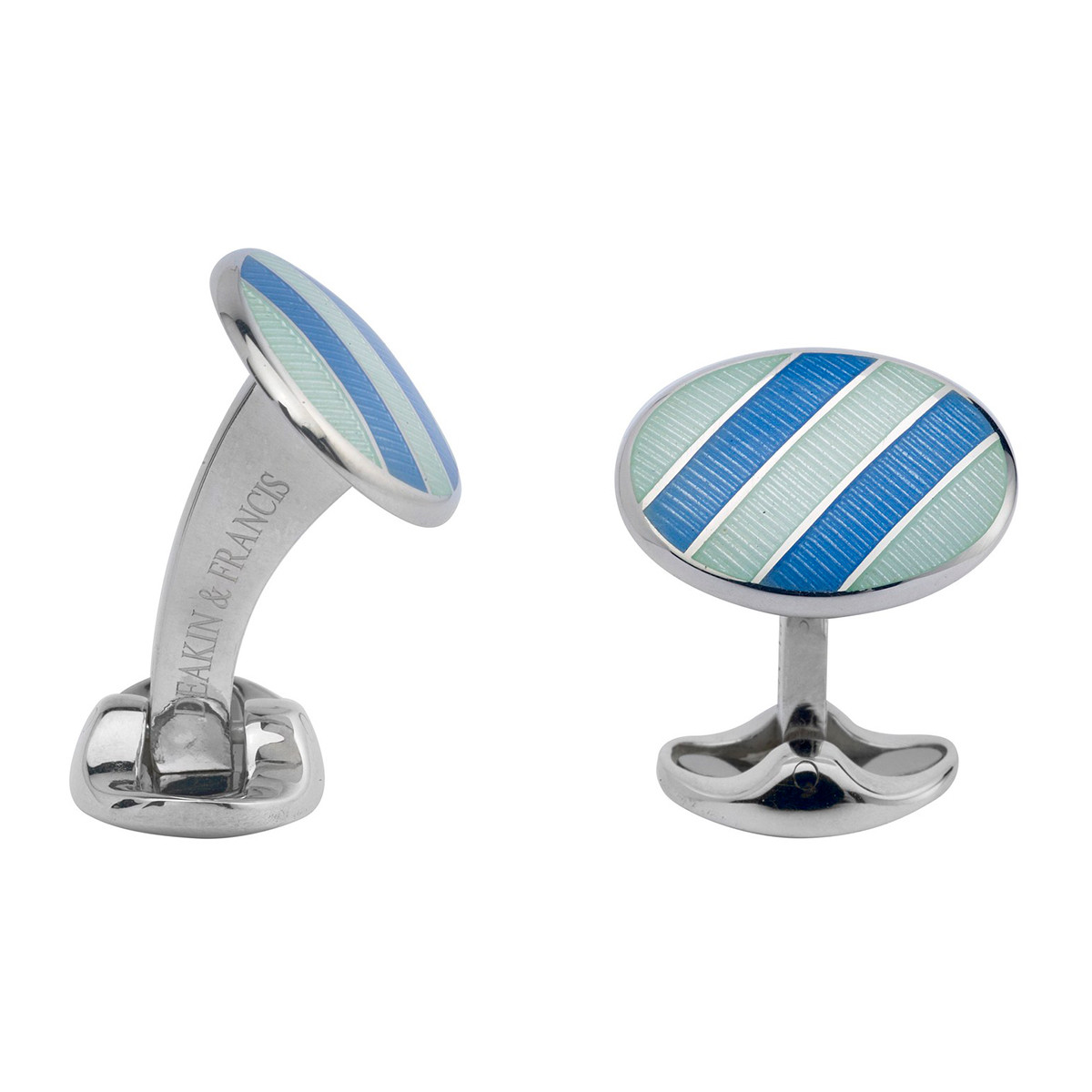 Sky Blue & Pale Bluish-Silver Enamel Striped Cufflinks