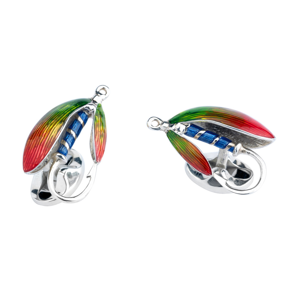 Silver Fly Fishing Lure Cufflinks