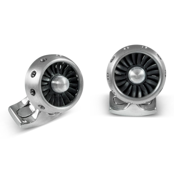 Aluminum Jet Turbine Engine Cufflinks