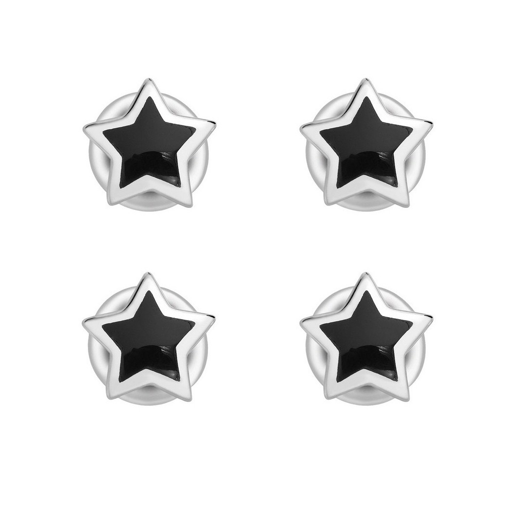 Silver & Black Onyx Star Shirt Studs