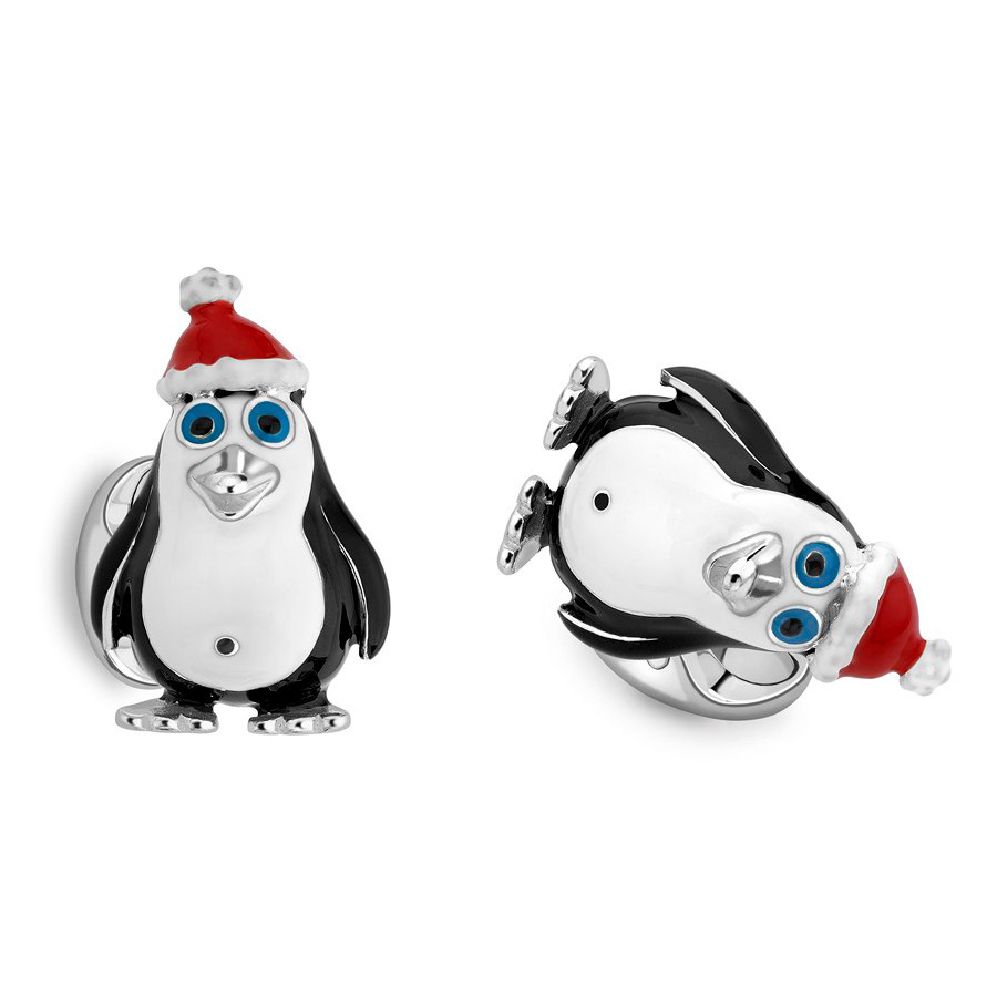 Silver Penguin in Santa Hat Cufflinks