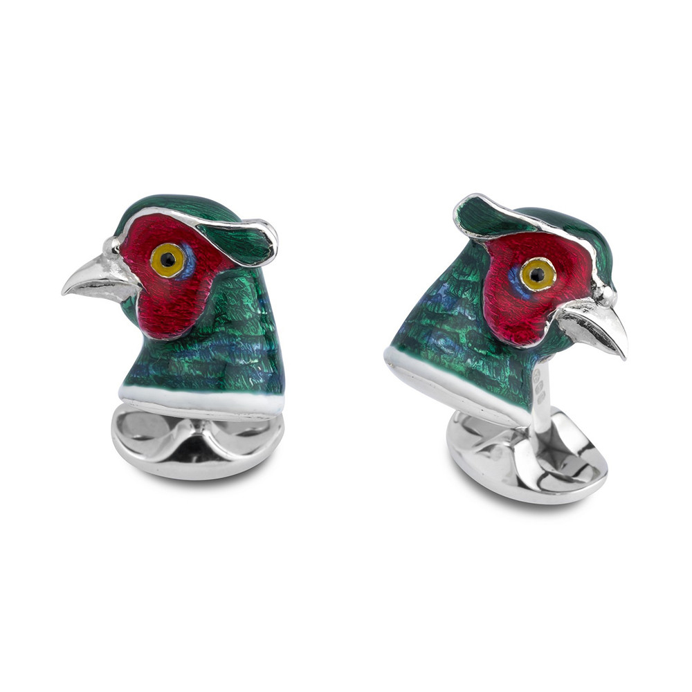 Silver Pheasant Head Cufflinks