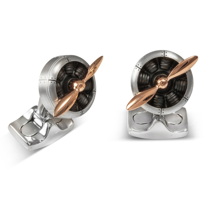 Aluminum & Rose Gold Propeller Cufflinks