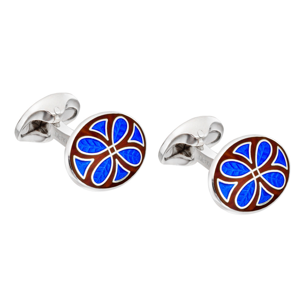 Silver Royal Blue & Burgundy Enamel Patterned Cufflinks